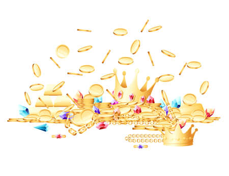 Pile of variety golden treasures crown gems coins chains vector illustration on white background Vettoriali