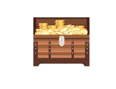 Wooden open chest with golden coins pirate treasure box game asset vector illustration on white background