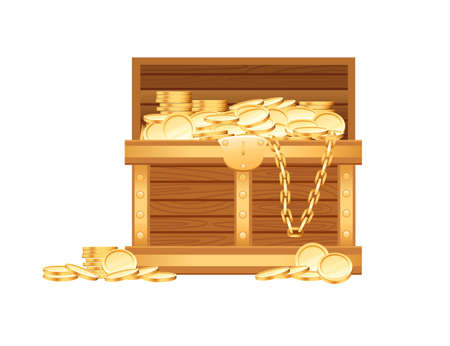 Wooden open chest with golden coins and chains pirate treasure box game asset vector illustration on white background