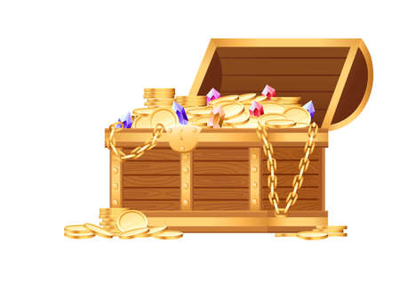 Wooden open chest with golden coins and luxury gems pirate treasure box game asset vector illustration on white background