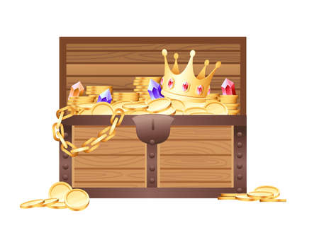 Wooden open chest with golden coins and gems with crown pirate treasure box game asset vector illustration on white background