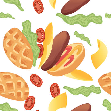 Seamless pattern of hamburger cooking assemble ingredients fast food vector illustration on white background