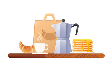 Kitchen desk side view with items for breakfast vector illustration on white background