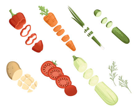 Chopped fresh ingredients for cooking food meat potato pepper carrot vector illustration on white background