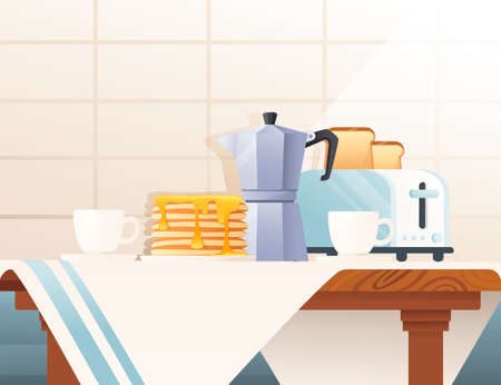 Kitchen interior with items on wooden desk vector illustration