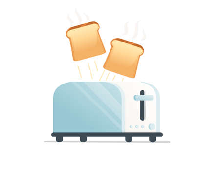 Metal gloss toaster for home usage with jumping toast bread vector illustration on white background