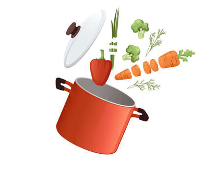 Stainless red saucepan with glass lid and wooden handle with chopped food cooking equipment kitchenware vector illustration on white background
