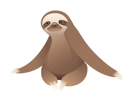 Sloth sitting on the ground cartoon animal design vector illustration on white background Vettoriali
