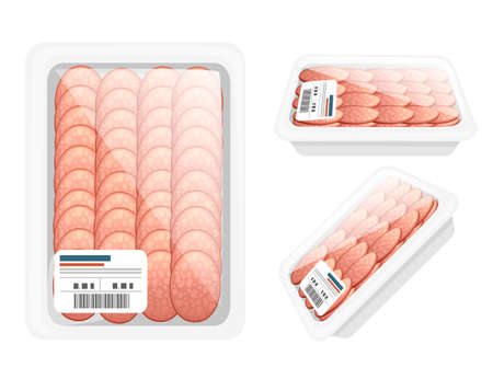 Sliced salami in plastic package for grocery market vector illustration on white background