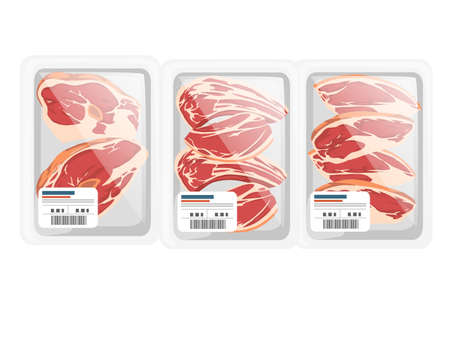 Sliced meat steak in plastic package for grocery market vector illustration on white background