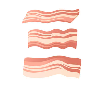 Sliced piece of bacon vector illustration on white background