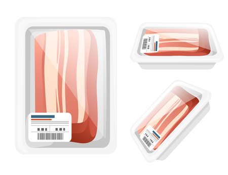 Sliced meat pieces of bacon in plastic package for grocery market vector illustration on white background Vettoriali