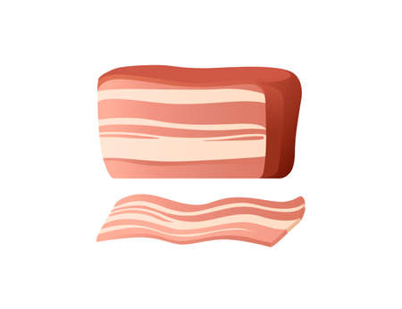 Sliced piece of pork vector illustration on white background