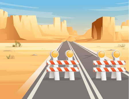 Road to highway in desert landscape with construction sign and flat mountains sunny day with clear sky vector illustration 向量圖像