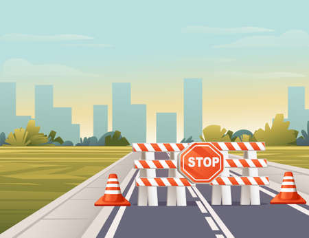Road to city straight road with STOP sign through green meadow with trees and bushes sunny day with clear sky vector illustration