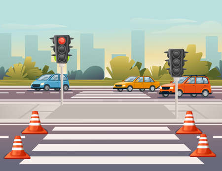 Road transport driving along the road with pedestrian crossing and traffic lights sunny day with clear sky vector illustration