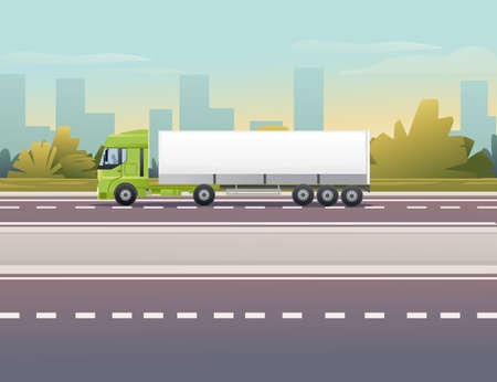 Road to city Truck driving on the road a sunny day with clear sky vector illustration 向量圖像