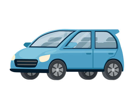 Blue modern car city automotive flat vector illustration