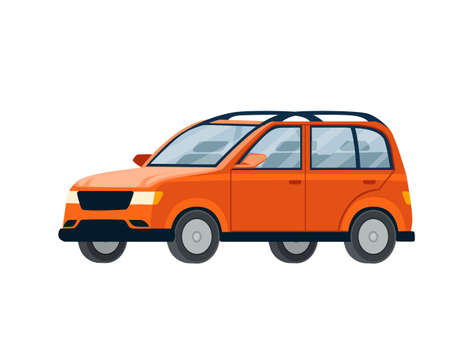 Red modern car city automotive flat vector illustration