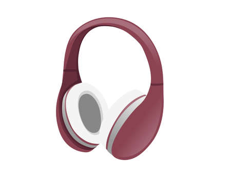 Wireless  red color Over-Ear Headphones flat vector illustration on white background