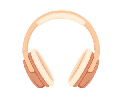 Wireless  beige color Over-Ear Headphones flat vector illustration on white background
