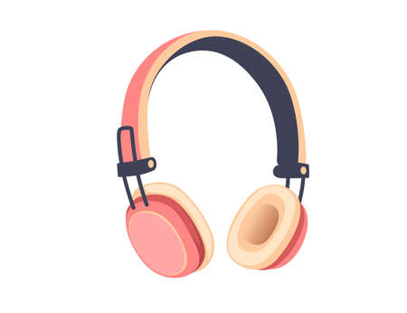 Wireless  pink color On-Ear Headphones flat vector illustration on white background
