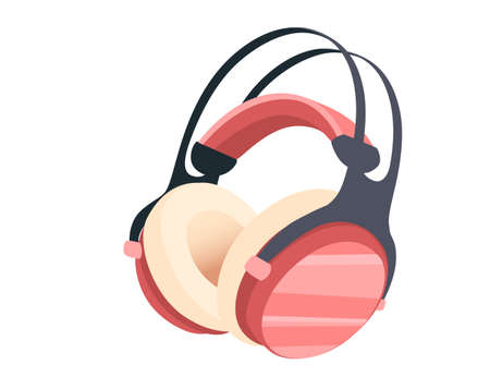 Wireless  pink color Over-Ear Headphones flat vector illustration on white background