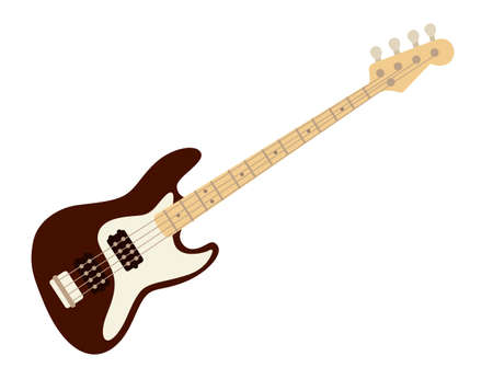 Electric guitar classical music instrument flat vector illustration on white background Vecteurs
