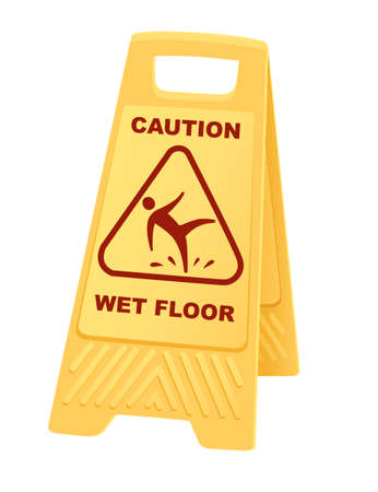 Yellow warning sign caution wet floor sign with falling man icon flat vector illustration isolated on white background