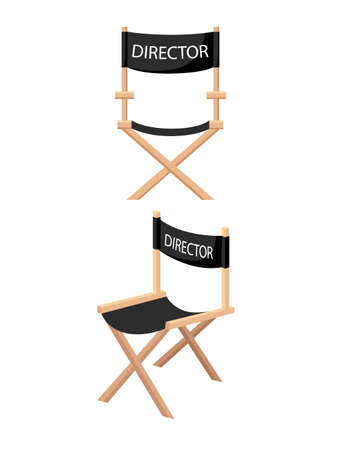 Wooden folding chair with DIRECTOR label for cinema or theater usage vector illustration on white background. Vector Illustratie
