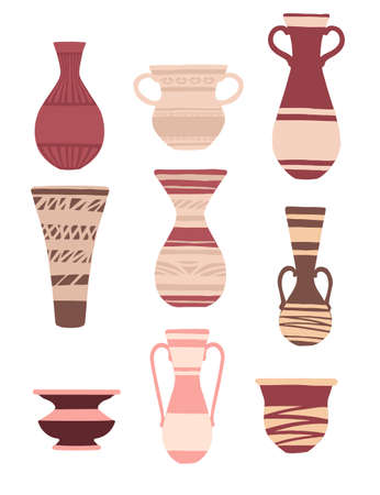 Set of decorative clay jugs modern jug design vector illustration isolated on white background.
