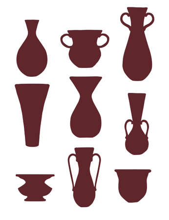 Brown silhouette set of decorative clay jugs modern jug design vector illustration isolated on white background.