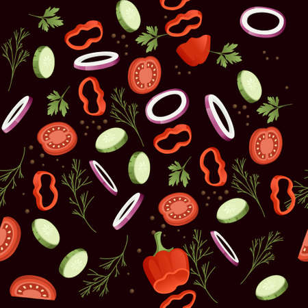 Seamless pattern sliced vegetables with tomato cucumber and herbs colored food icons for cooking vector illustration Stok Fotoğraf - 166097722