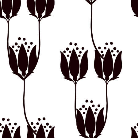 Seamless pattern abstract silhouette flowers vector illustration