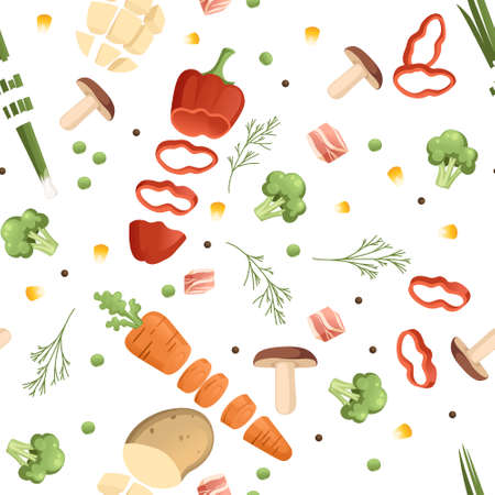 Seamless pattern sliced vegetables with pepper potato and carrot colored food icons for cooking vector illustration