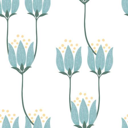 Seamless pattern abstract blue flowers vector illustration Çizim