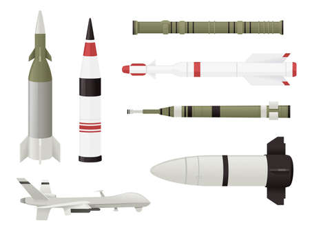 Set of Military rockets weapon nuclear launch vector illustration isolated on white background Çizim