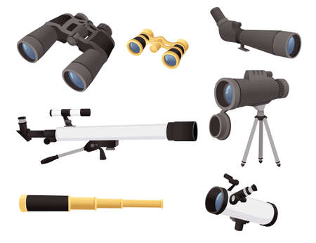 A set of professional optical devices telescopes binoculars and spyglass vector illustration isolated on white background