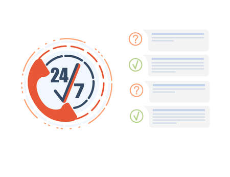 Call center service icon with phone handset and 24-7 vector illustration on white background Çizim