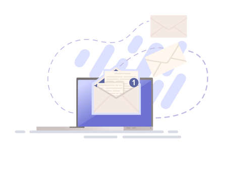 Illustration of sending mail or email with paper envelope and laptop vector illustration on white background