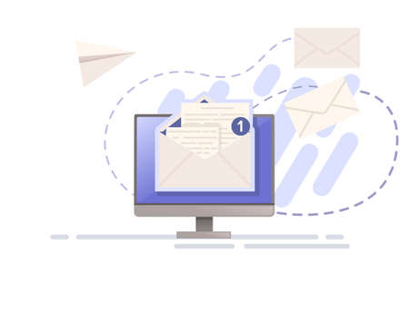 Illustration of sending mail or email with paper envelope and monitor vector illustration on white background