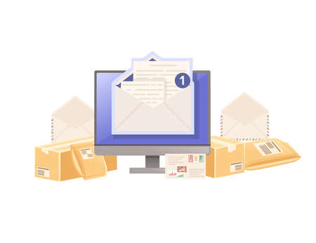Illustration of sending mail with paper envelope and cardboard parcel vector illustration on white background
