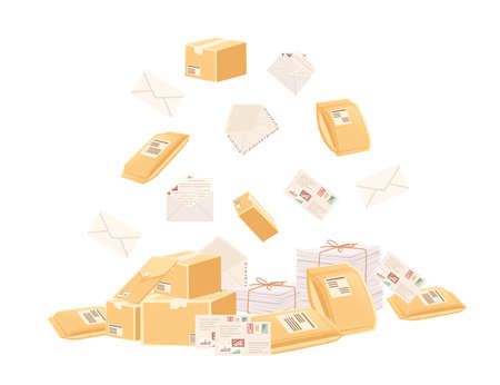 Stack cardboard and paper postal correspondence vector illustration on white background