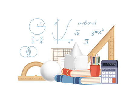 Math science courses online education concept or school lesson vector illustration on white background