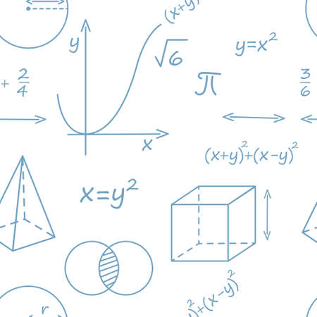 Seamless pattern outline style Math science courses icons online education concept or school lesson vector illustration on white background