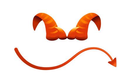 Devil horn and tail red satan horn carnival party head accessory vector illustration on white background Vektoros illusztráció
