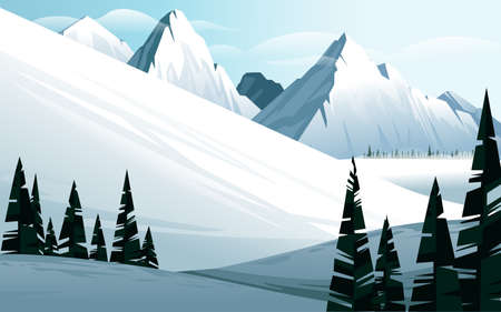 Horizontal winter mountain landscape with fir forest and show mountains covered snow vector illustration