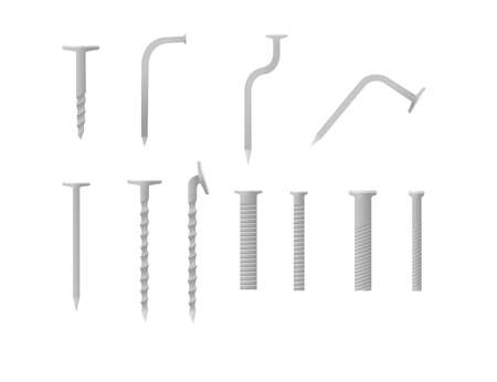 Set of metal bolts nails and screws iron hardware tools vector illustration isolated on white background.