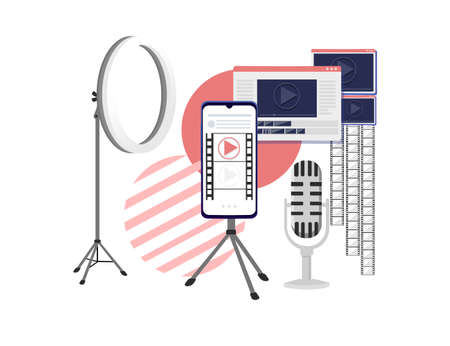 Video or film production cinematography concept media player on smartphone with professional tools vector illustration on white background.