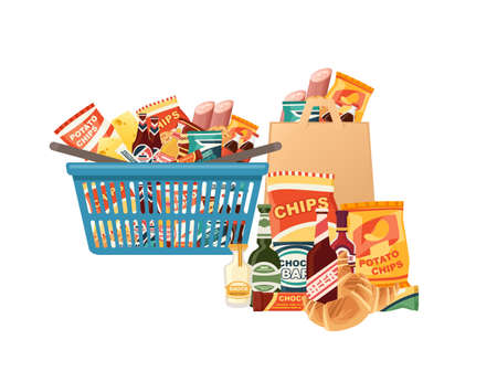 Blue plastic shopping basket with fresh grocery products snacks sausage and soda vector illustration isolated on white background. Векторная Иллюстрация